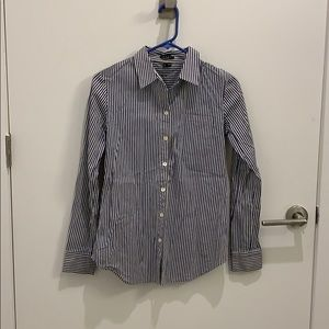 Theory white and blue striped shirt